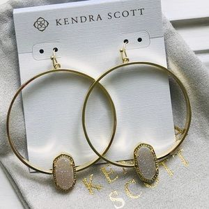 Kendra Scott Elora Gold Hoop Drusy Earrings